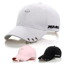 цена на Men Women Fashion Sunscreen Baseball Cap Short Brim Pin Iron Rings Hat for Spring Summer Adjustable