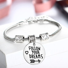 12PC Follow Your Dreams Bracelets Love Heart Arrow Beads Chain Bangles Inspirational Jewelry Women Men Friends BFF Graduation Gifts(China)