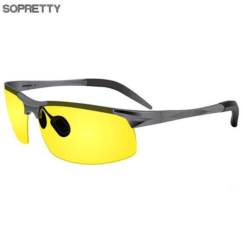 Night Vision Mens HD Polarized Sunglasses Yellow Lens Metal Frame Eyewear UV400