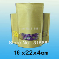 Standup kraft paper bag with window and zipper for food 16x22x4cm 100PCS/LOT