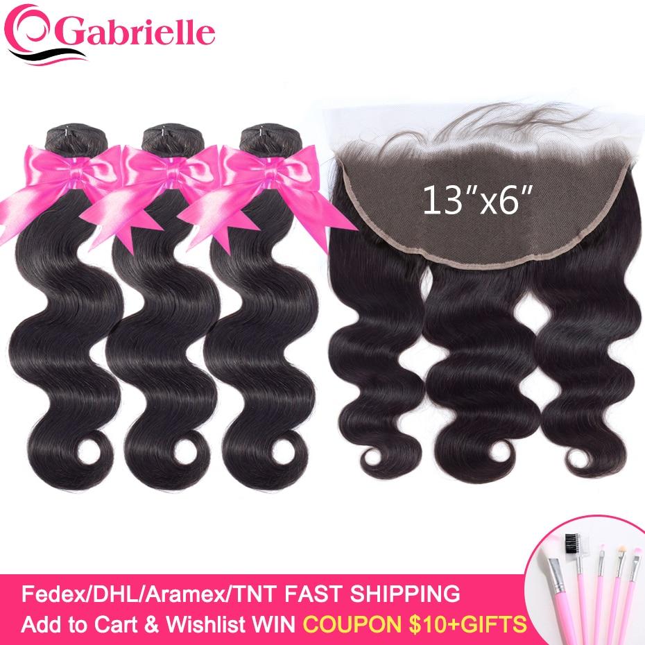 Gabrielle Hair Ear to Ear 13x6 Frontal with Bundles Brazilian Human Hair Body Wave Bundles with Innrech Market.com