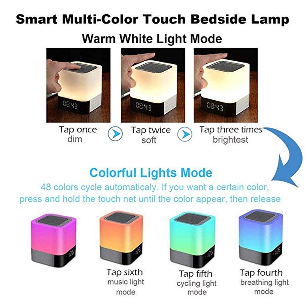 Bluetooth Lautsprecher LED Nachtlicht Kinder Wecker Digital Touch MP3 Player DPD