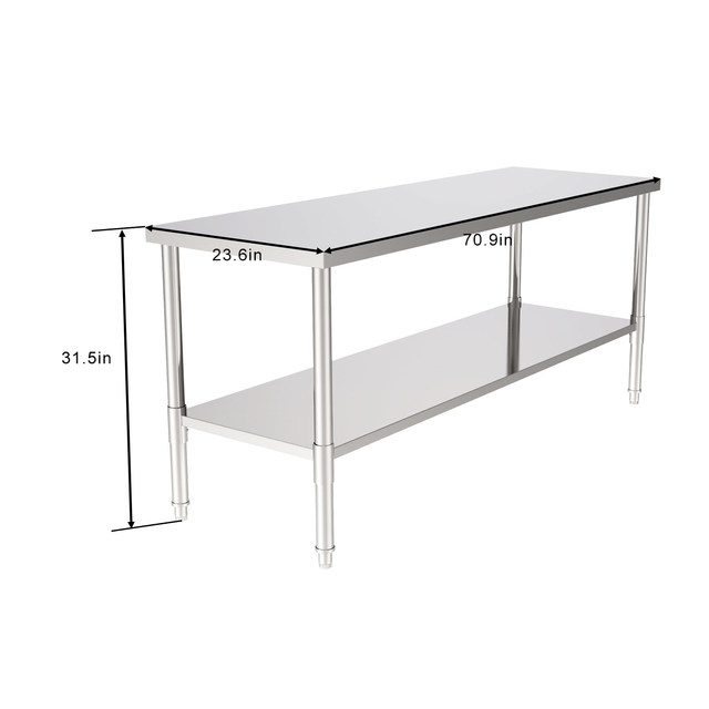 """72"""" Stainless Steel Galvanized Work Table 2"""
