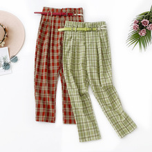 AcFirst Autumn Women Fashion Green Red Long Pant Harem Pants High Waist Ankle Sashes Female Plaid Casual Vintage Bottom