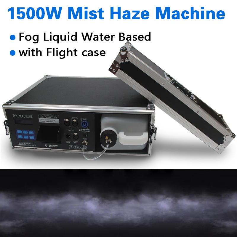 New 1500W Mist Haze Machine For Stage Equipment With Flight Case Use Liquid Water Based / Hazer Fog Machine For Club