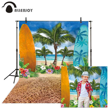 Allenjoy summer surfing background for photo studio surfboard tree flowers beach sea painting photography backdrop photophone