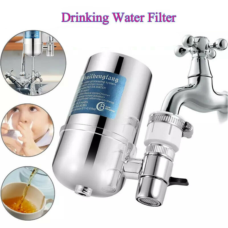 8 Layer Reusable Faucet Water Filter Activated Carbon Household Kitchen Faucet For Kitchen Sink Mount Filtration Tap Purifier