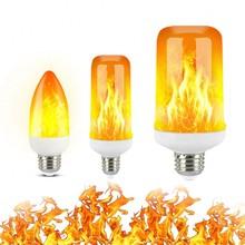 2020 nowy LED dynamiczny efekt płomienia lampka imitująca ogień żarówka E27 B22 E14 LED żarówka kukurydza kreatywny migotanie emulacja 5W 12W lampka LED tanie tanio FDIK Ciepły biały (2700-3500 k) 2835 Salon 85-265V 500-999 Lumenów Globe 50000 134mm Żarówki led Bubble ball żarówki