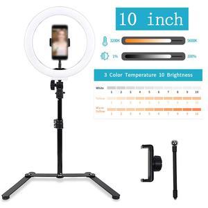"""Image 2 - LED حلقة مصباح 10 """"14"""" 18 """"22"""" عكس الضوء Selfie مصباح مصمم على شكل حلقة 3200 5600K مع حامل ثلاثي القوائم التصوير الفوتوغرافي الإضاءة لفيديو يوتيوب"""