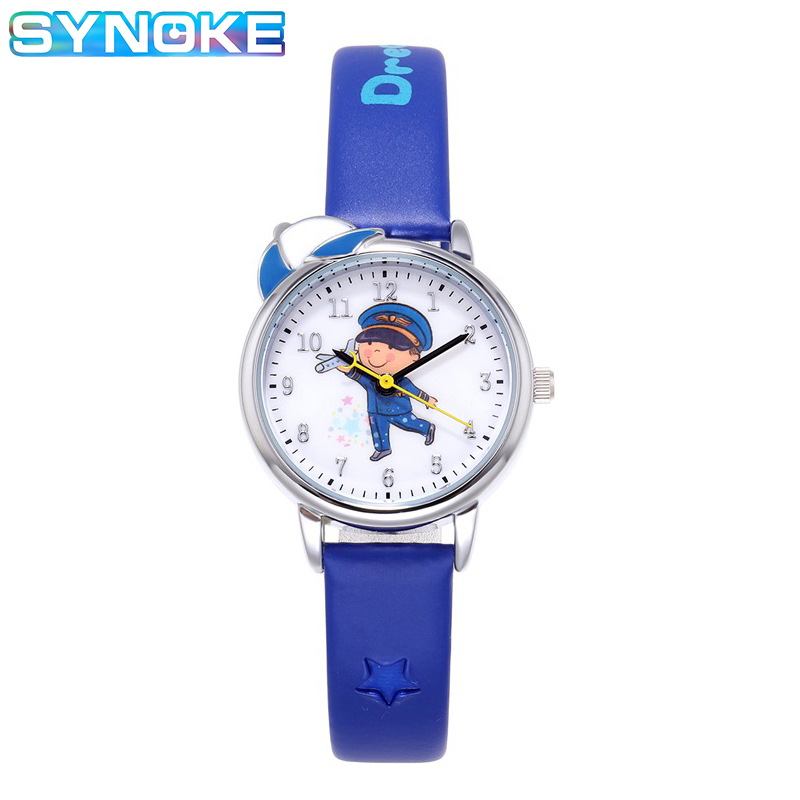 SYNOKE Fashion Cartoon Character Quartz Watch Kids Boy Girls Leather Strap Comfort 50m Waterproof Clock Gift For Kids Children