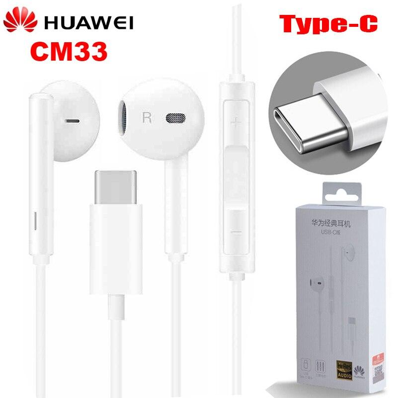 Fones de ouvido originais huawei cm33, earbuds, usb tipo c, microfone, controle de volume para mate 10, mate 10 pro, p20, p20, p30 pro pro pro Fones de ouvido    -