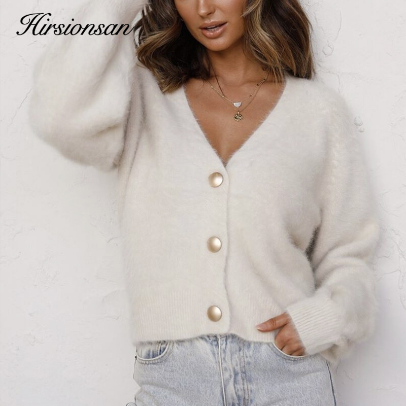 Hirsionsan Elegant Long Sleeve Mohair Sweater Women 2020 New Single-Breasted Female Short Cardigan Soft Flexible Knitted Outwear 1