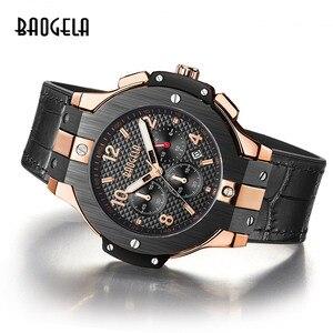 Image 3 - BAOGELA marque hommes montre Quartz montre or bande de caoutchouc 3ATM résistant à leau chronographe hommes Quartz 1909
