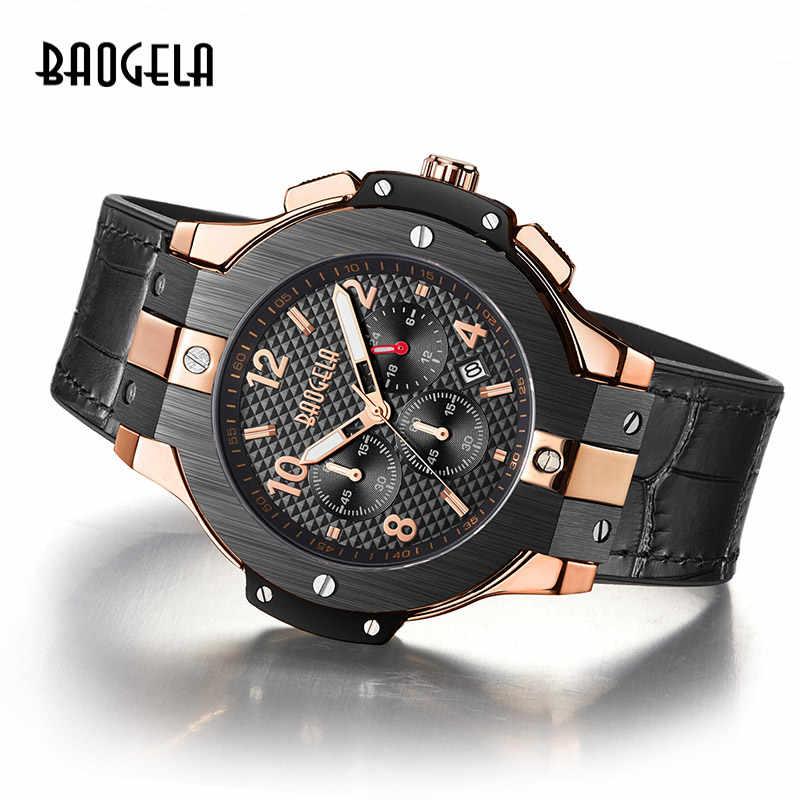 BAOGELA marque hommes montre Quartz montre or bande de caoutchouc 3ATM résistant à l'eau chronographe hommes Quartz 1909