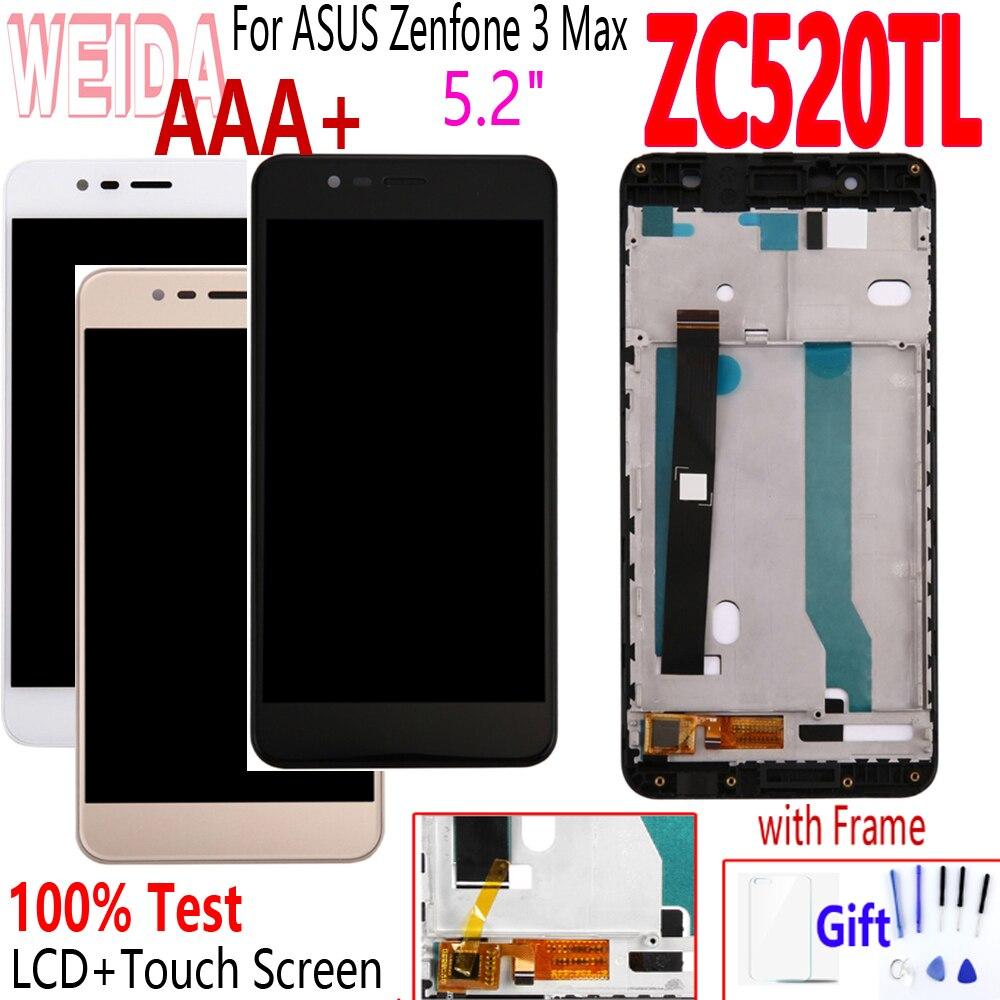 """Cep telefonları ve Telekomünikasyon Ürünleri'ten Cep Telefonu LCD'leri'de Orijinal 5.2 """"ASUS Zenfone 3 Max için ZC520TL X008D LCD ekran dokunmatik ekranlı sayısallaştırıcı grup için çerçeve ile ASUS ZC520TL LCD title="""