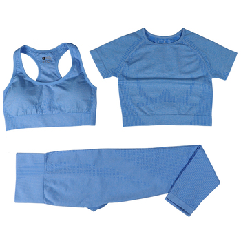 Seamless Women Vital Yoga Set Workout Shirts Sport Pants Bra Gym Clothing Short Crop Top High Waist Running Leggings Sports Set 21