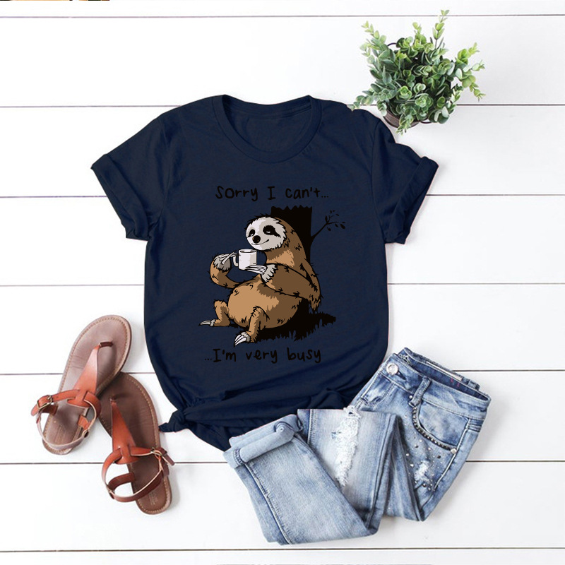100% Cotton Sloth Printing Women T-shirt Summer Fashion Tops Large Size Animal Kawaii Print T Shirt Pink New