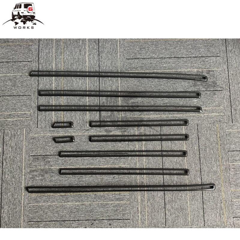 G63 Moulding Moulding Trim AMG Style Carbon Fiber Side Molding Inserts Set 10 pcs kit for Mercedes-Benz G-Class W463 G500 G55 G63 G65