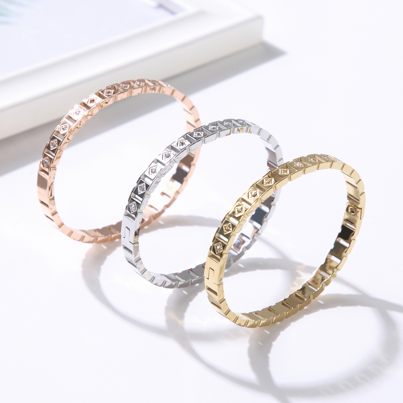 Hollow CZ Crystal Bracelets Bangles Stainless Steel Classic Cube Rhombic For Women Girls Cuff Bracelet Jewelry  - buy with discount