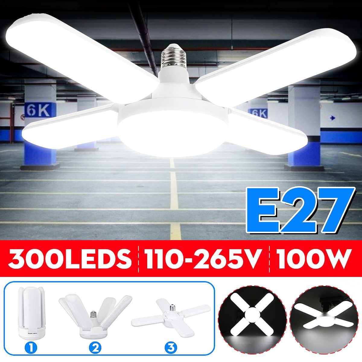 100W LED Garage Lights Foldable E27 Bulb 4 Adjustable Fan Blades Deformable Workshop Warehouse Ceiling Lighting 6500K AC110-265V