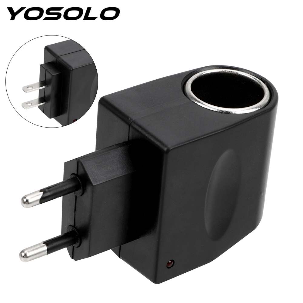 YOSOLO AC 220V To DC 12V EU US Plug Converter Car Cigarette Lighter Adapter Auto Accessories