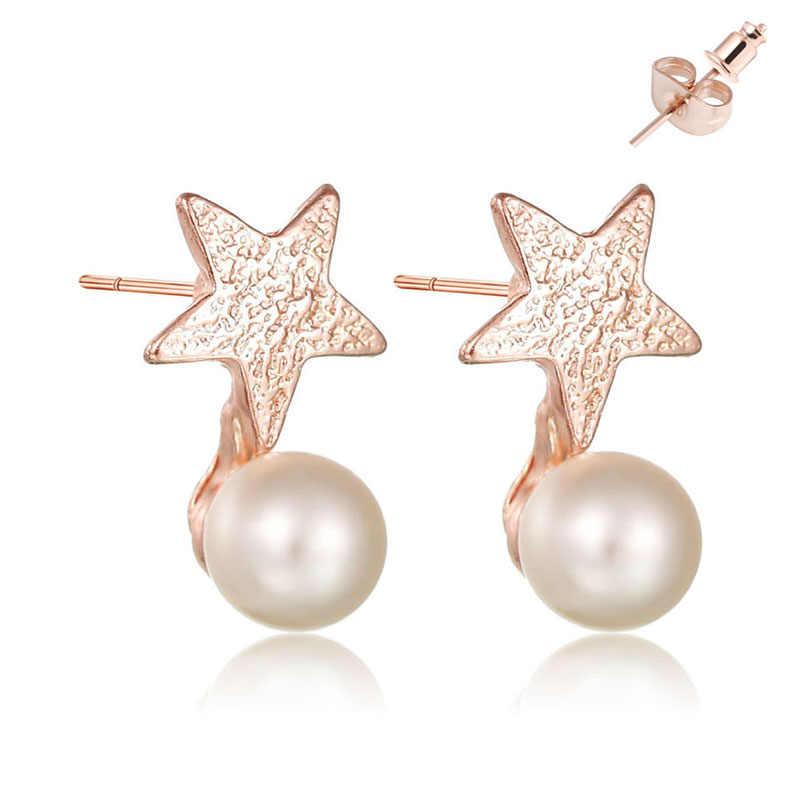 แฟชั่น Rose Gold โลหะขนาดเล็กดาวเลียนแบบ Pearl ต่างหูสุภาพสตรีผีเสื้อพร้อมโครเมี่ยมสตั๊ดต่างหูเครื่องประดับหญิง
