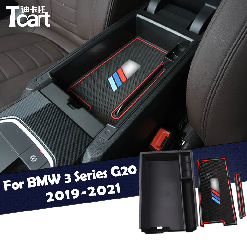 Auto Car Center Console Armrest Storage Box Tray Organizer Anti-Slip Mats for bmw new 3 Series g20 2019 2020 2021accessories image