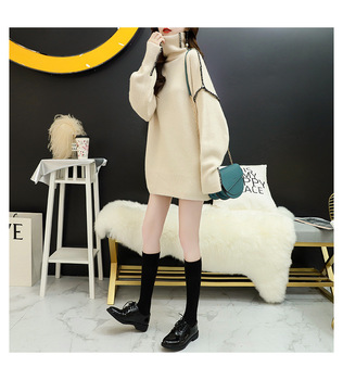 Women's high-necked sweater long-sleeved beige blue black pullover super loose casual pullover 2020 autumn and winter new produc hdy haoduoyi 2018 new arrival beige knit half necked openwork loose pullover sweater autumn winter