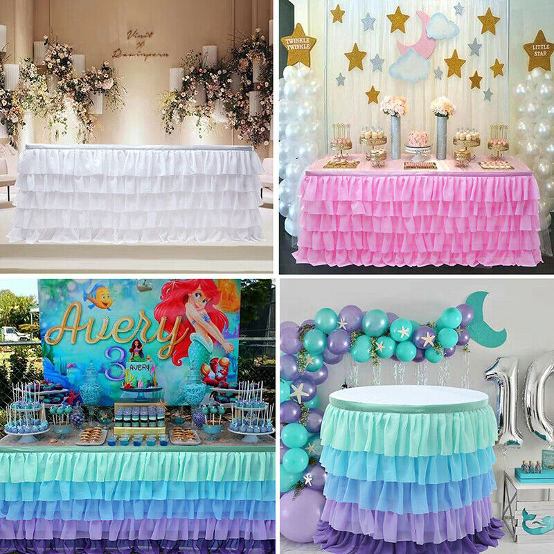 2019 New Table Skirt Tulle Table Skirts Tableware Cloth Cover Birthday Wedding Party Decor 185x77cm