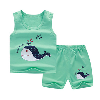 ZWF192 New Baby Girls Vest Sets Toddler Boys Cartoon Tops and Shorts Summer Infant Playsuit Children Cotton Clothing Sleeveless