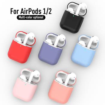 Soft Silicone Cases for Airpods 2&1 Protective Earphone Cover Case for Apple airpods 2 Air pods 2 1 Shockproof Sleeve Pouch image
