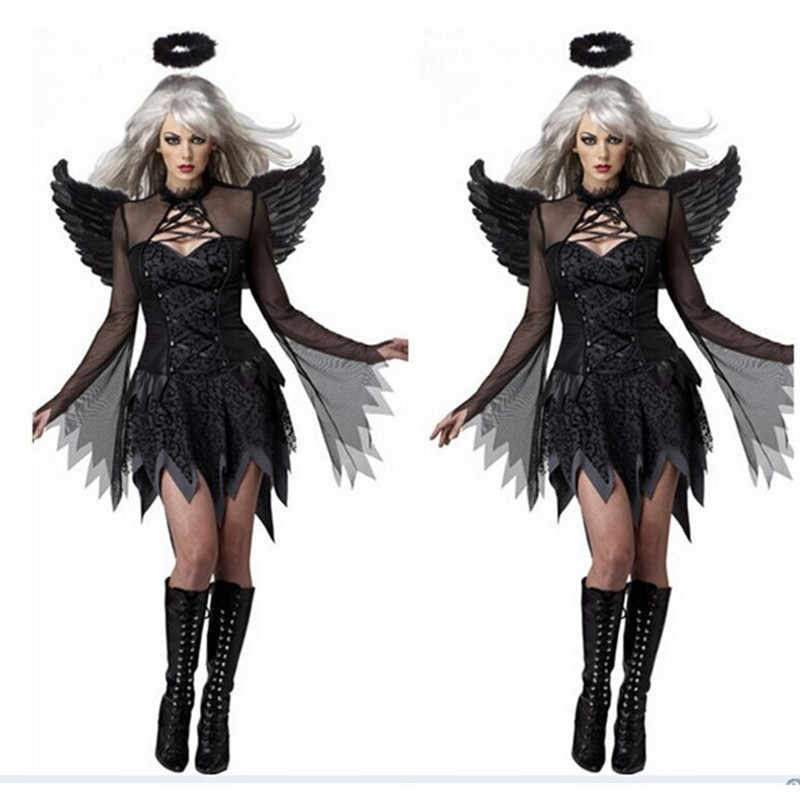 Womens Fantasy Cape Black Fancy Dress Party Halloween Adult