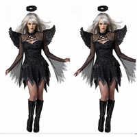 2019 Halloween Kostüme Für Frauen Fantasie Cosplay Partei-abendkleid Erwachsene Schwarz Fallen Angel Kostüm Mit Engel Flügel