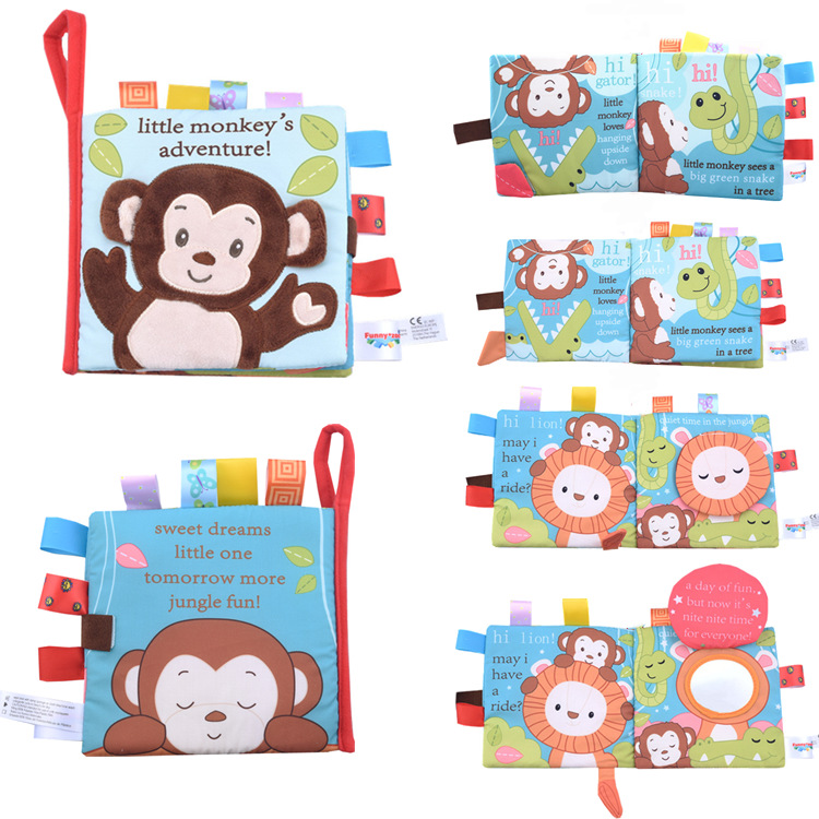 Animalx Style Monkey/Owl/Dog Newborn Baby Toys Learning Educational Kids Cloth Books Cute Infant Baby Fabric Book Ratteles Toy