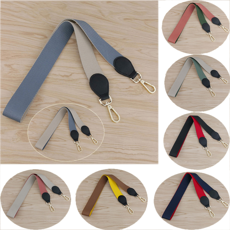 New Women Canvas Bag Strap Fashion Metal Button Handbag Strap Wild Solid Shoulder Bag Strap Accessories Bag Belt High Quality