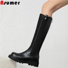 Asumer Più Il formato 34-43 del cuoio Genuino stivali alti al ginocchio delle donne zip tacchi quadrati stivali di marca di inverno femminile Chunky signore botas