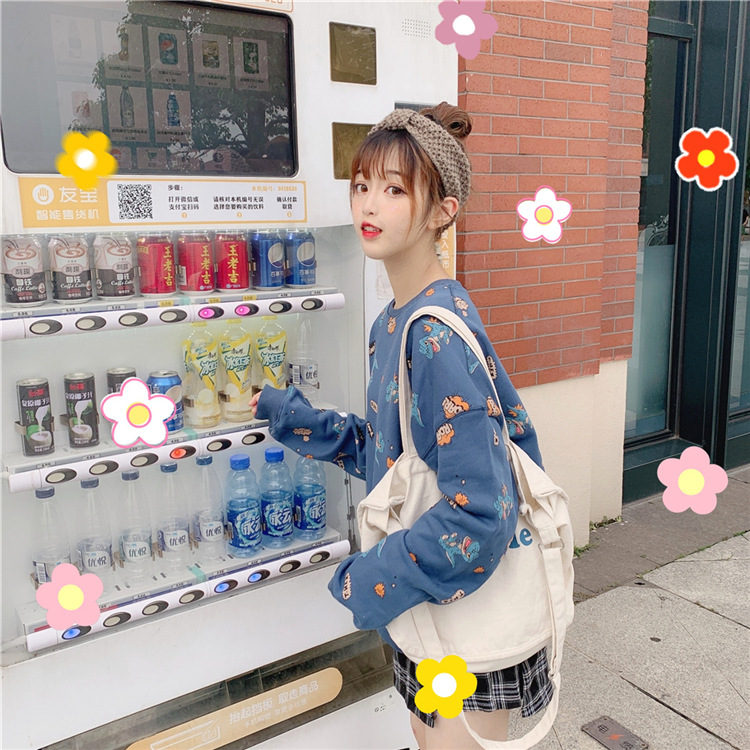 Sweatshirt women winter 2019 new loose Korean ins casual bf fashion fun pattern Harajuku  womens sweatshirt