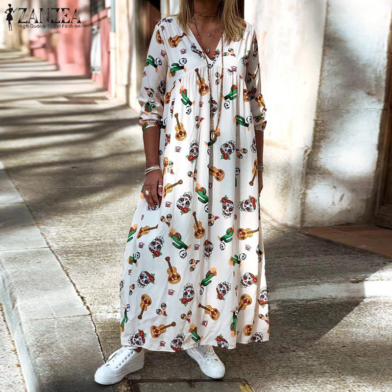 2019 Fashion Long Maxi Dress Women Long Sleeve Printed Dresses ZANZEA Plus Size V Neck Ladies Vestidos Casual Pockets Robe Femme