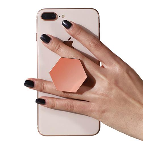 2020 Universal Finger Ring Holder Plating Hexagon Grip Extending Stand Car Mobile Phone Ring Holder for IPhone X 7 Support Stand
