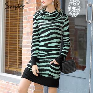 Image 1 - Платье Свитер Simplee с животным принтом; уличная одежда с высоким воротником и карманами; трикотажное платье; повседневное женское прямое мини платье; сезон осень зима