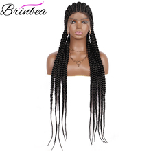 Brinbea-Peluca de cabello sintético con malla frontal para mujer, cabellera artificial de 33 pulgadas, larga, trenzada, color negro, con pelo de bebé