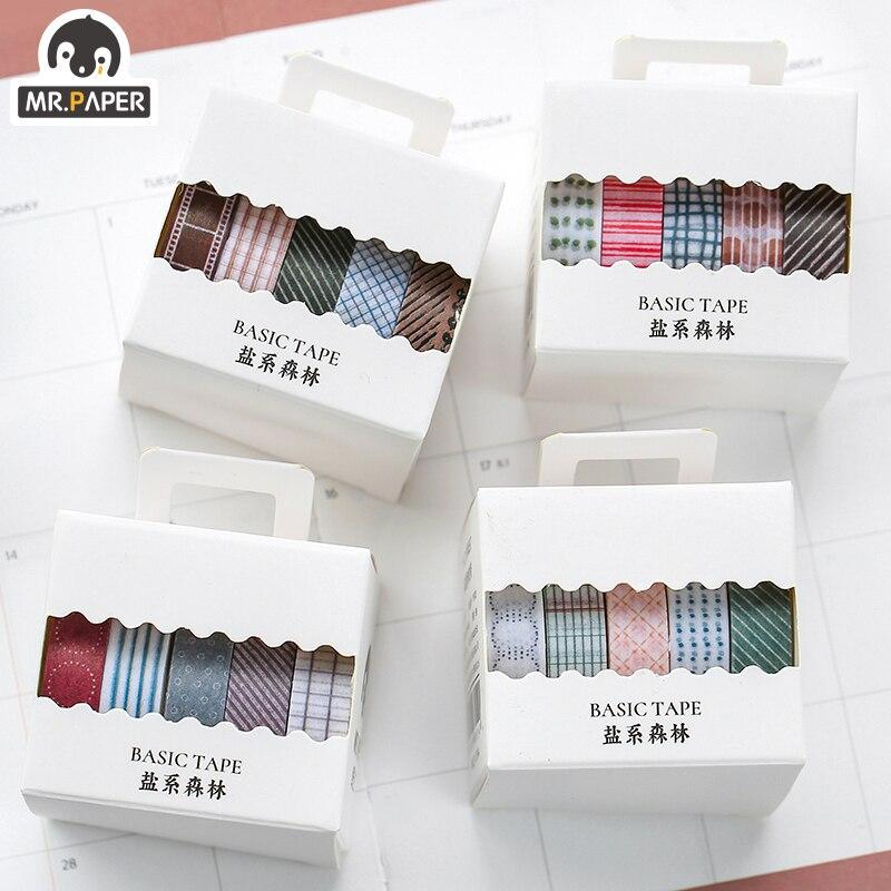 Mr.Paper 5pcs/box 8 Design Salt Forest Series Spots Color Scrapbook Cut-off Rule Washi Tape Bullet Journaling Deco Masking Tapes 3