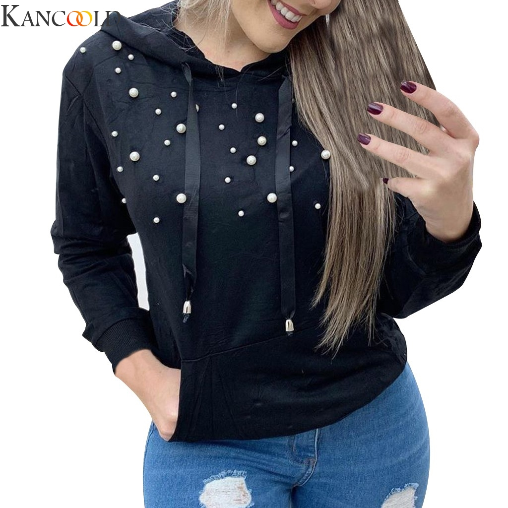 KANCOOLD Fashion Women Loose Long Sleeve Solid Color Diamond Splice Drawstring Sweatshirt Tops Hoodie Autumn clothes New
