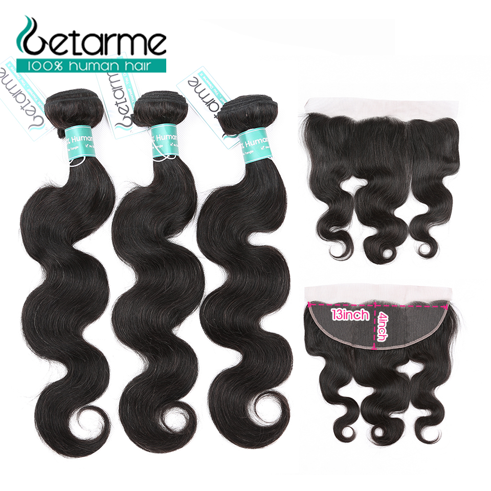 Peruvian Body Wave 3 Bundles Human Hair Bundles With Ear To Ear 13*4 Lace Frontal Closure Natural Color Remy Hair Extension