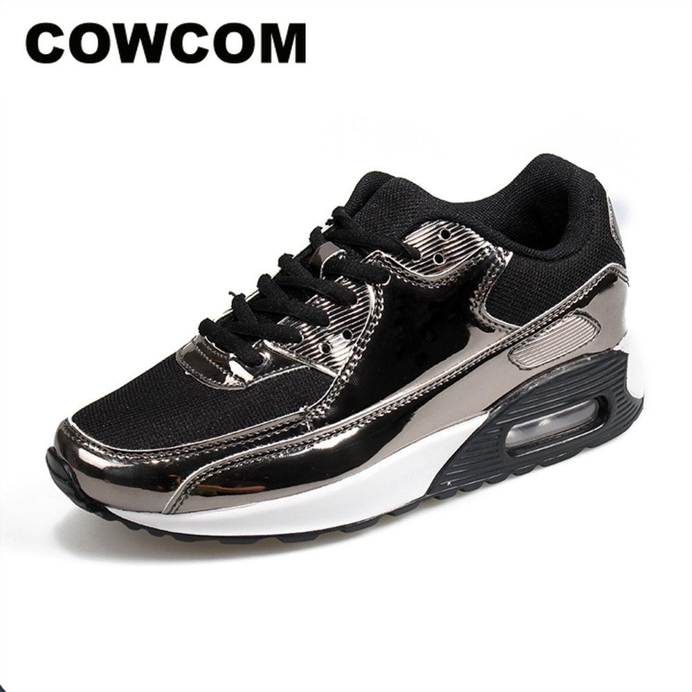 COWCOM Spring  Fashion Air Cushion Sports Shoes Mesh Cloth Breathable Mens Shoes Bright Leisure Running ShoesWomens Vulcanize Shoes   -