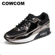 Cowcom primavera moda almofada de ar sapatos esportivos pano de malha respirável sapatos masculinos brilhantes lazer tênis corrida