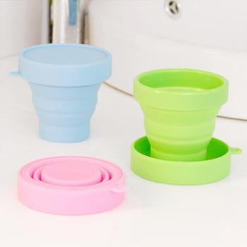 Taza de agua de grado alimenticio portátil, tazas de silicona de Color sólido, taza plegable para gárgaras, utensilios para bebida para viaje al aire libre, 1 Uds.