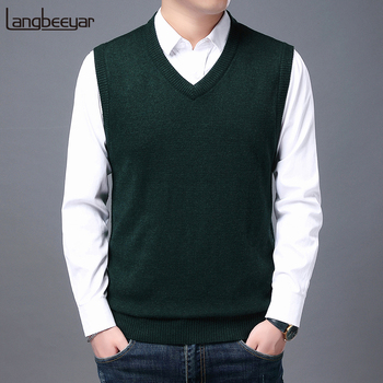 2021 High Quality New Autum Winter Fashion Brand Knit Sleeveless Vest Pullover Mens Casual Sweaters Designer Woolen Mans Clothes 1