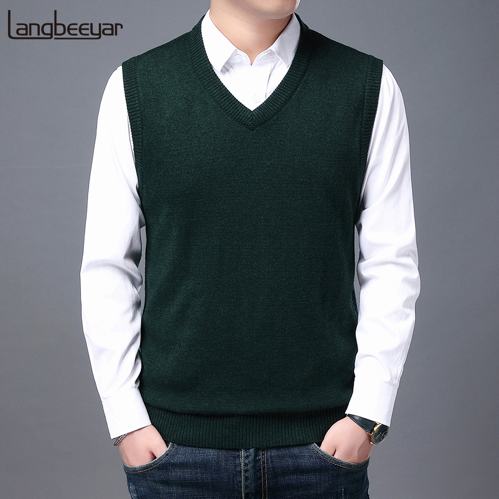 2021 High Quality New Autum Winter Fashion Brand Knit Sleeveless Vest Pullover Mens Casual Sweaters Designer Woolen Mans Clothes