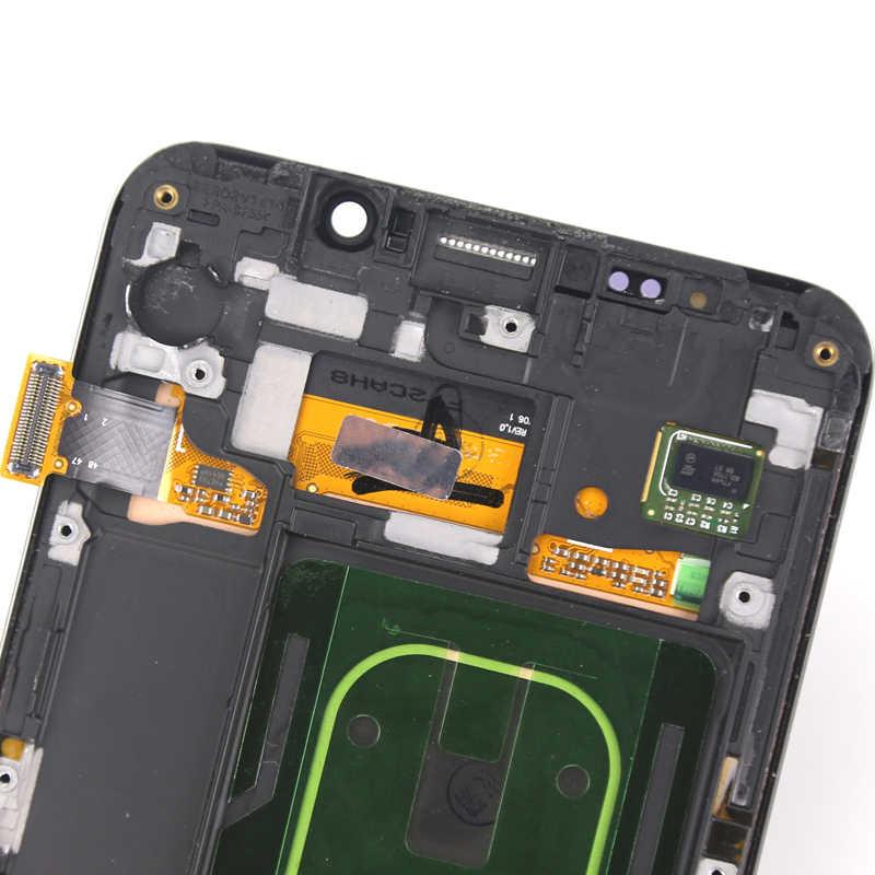 """מקורי סופר AMOLED LCD עבור סמסונג גלקסי S6 קצה בתוספת תצוגה עם מסגרת 5.7 """"SM-G928F LCD מגע מסך אדום צל חלקי"""